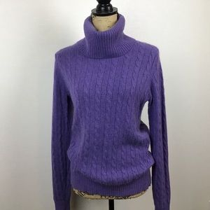Lands' End Cable Cashmere Sweater Purple Cowl Neck